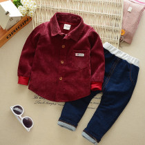 Steph 2pcs set Corduroy Long Sleeve Shirt & Elastic Pants Sets