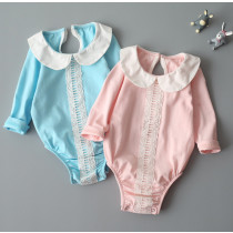 Creamy Round Neck Collar Lace One Piece Baby Romper