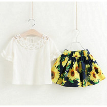 Hannah 2pcs Set Lace Ruffle Shorts Sleeve Top & Summer Flowers Skirt Set