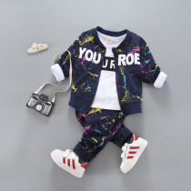 Kit 3pcs set Long Sleeve Top Blouse with Baseball Jacket & Elastic Pants Sets