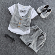 Gwyneth 2pcs set Faux 2pcs set Short Sleeve with Vest Top & Checkered Elastic Short Pants Sets
