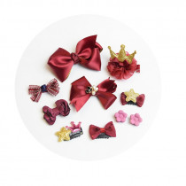 Janet 10pcs set Red Bow Hair Clip Accessories Sets