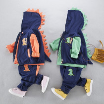 Xanthe 3pcs set Dinosaur Long Sleeve Top with Vest Jacket & Elastic Pants Sets