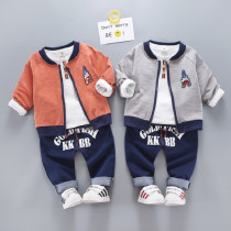 KK BB 3pcs set Cotton Long Sleeve Top with Baseball Jacket & Elastic Denim Pants Sets
