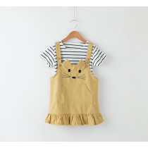 Mia 2pcs Set Shorts Sleeve Stripes Top & Cute Cats Dress Set