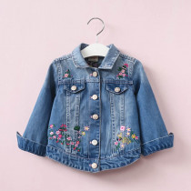January Floral Embroidery Long Sleeve Denim Jacket