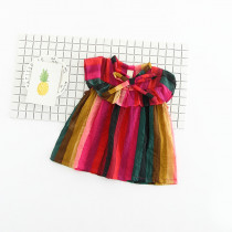Adora Rainbow Stripes Sleeveless A Line Dress