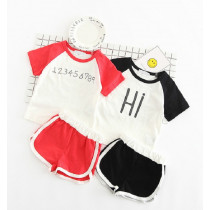 "Mazie 2pcs Set ""Hi Bye"" Short Sleeve Top & Short Pants Set"