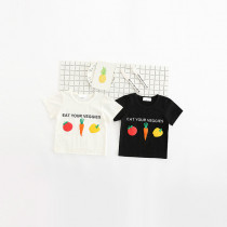 "Roxie ""Eat Your Veggies""  Veggies Puff Printed Cotton Short Sleeve Top"