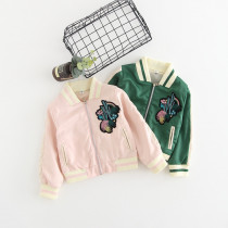 Careen Plant Embroidery Baseball Jacket