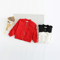 Debbie Ruffle Design Baseball Jacket