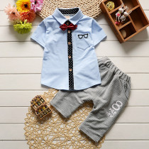 Britt 2pcs set Short Sleeve Shirt with Bow & Elastic Stripe Pants Sets