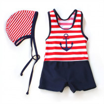 Reina Sailor Stripe Pattern One Piece Swimsuit with Hat