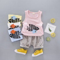Kinley 2pcs set Fish Printed Vest Top & Canvas Elastic Short Pants Sets