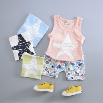 Louise 2pcs set Starfish Printed Vest Top & Printed Elastic Short Pants Sets