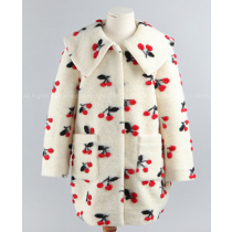 Rossy Romantic Cherry Embroidery Sailor Collar Wool Trench Coat