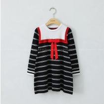 Moony Sailor Stripe Red Bow Dress