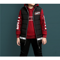 LMYT Boys 3pcs Winter Matching Outfits Padded Vest Jacket, Sweater and Pants
