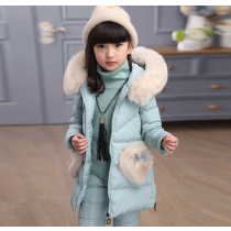 Selena Tiffany Blue 3pcs Winter Snow Padded Hoodie Vest Jacket Fur Sweater Pants Set