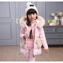 Selena Pink 3pcs Winter Snow Padded Hoodie Vest Jacket Fur Sweater Pants Set