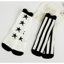 Black & White Stripe Stars Knee High Stockings Socks