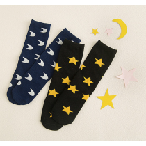 Black Star Blue Moon Girls Knee High Stocking Tights Socks