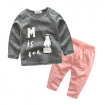 Milk Milk 2pcs Set Long Sleeve Round Neck Top & Cotton Pants Set