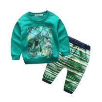 Safari 2pcs Set French Terry Long Sleeve Top & Printed Stripes Pants Set