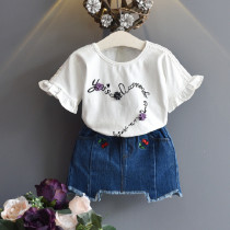 Adelene 2pcs set Ruffle Short Sleeve Top & Denim Elastic Skirt Set