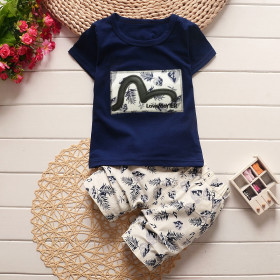 Jayden 2pcs set Banana Leaves Printed Short Sleeve Top & Elastic Fisherman Pants Sets