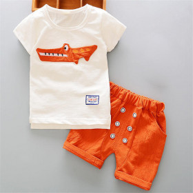 Lark 2pcs set Crocodile Patch Short Sleeve Top & Elastic Short Pants Sets