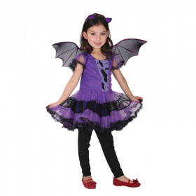Carlie Halloween Chiffon Mesh Cap Sleeve with Bat Wings Cosplay Dress