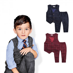 Jason 2pcs set Checkered Gentleman Vest Suit & Elastic Pants Set