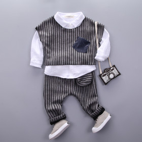 Marge 3pcs set Long Sleeve Crinkle Shirt with Striped Vest Top & Striped Elastic Pants Sets