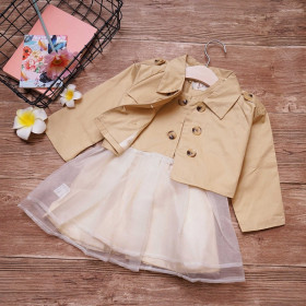 Hilary 2pcs set England Style Chiffon Sleeveless Tutu Dress & Jacket Coat Sets