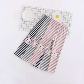 Aislin Striped with Rabbit Embroidery Elastic Pants