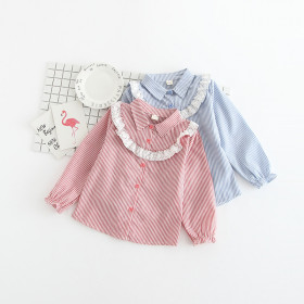 Emi Striped Long Sleeve with Lace Top Shirt