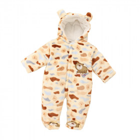 Cheri Tiger Printed Fleece Long Sleeve Baby Romper