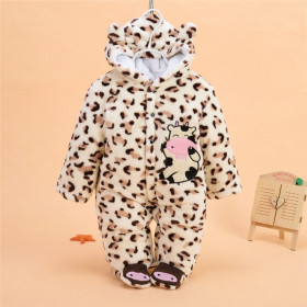 Delaney Animal Printed Fleece Long Sleeve with Hoodie Baby Romper