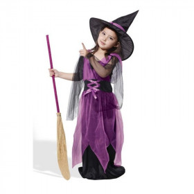 Amina Halloween Chiffon Mesh Sleeveless Cosplay Dress with Hat & Broom Sets