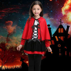 Red Little Devil 2pcs set Halloween Long Sleeve Dress & Cloak Cosplay Sets