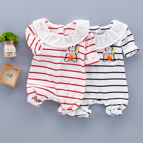 Isobel Striped Pattern with Rabbit Long Sleeve Baby Romper