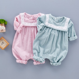 Leanne Checkered Linen Long Sleeve Baby Romper