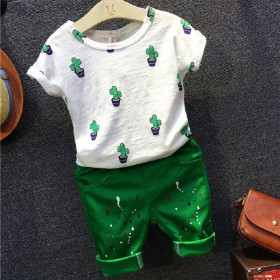 Lexi 2pcs set Cactus Plant Short Sleeve Top & Elastic Pants Sets