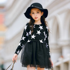 Elisabeth Stars Printed with Lace Chiffon Long Sleeve Dress