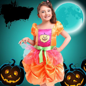 Glynis Halloween Pumpkin Cap Sleeve Princess Dress