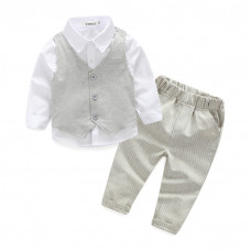 Lucas 3pcs set Gentleman Shirt with Vest Suit & Stripe Pants Set