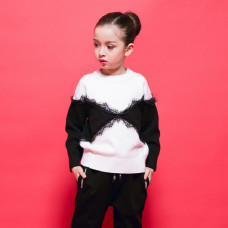 Carlynn Black & White Winter Sweater with Lace Long Sleeve Top